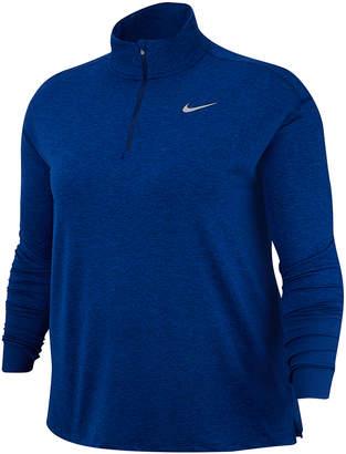 Nike Women's Sweatshirts and Hoodies Blue - Blue Void & Reflective Silver Element Half-Zip Long-Sleeve Running Top - Plus