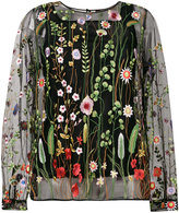 Odeeh sheer floral embroidered blouse - women - Cotton/Polyamide/Polyester - 38