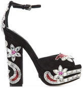 DSQUARED2 crystal-embellished sandals - women - Leather/Acrylic/Glass Fiber - 37