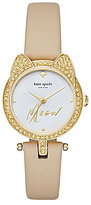 Kate Spade Pave Crystal & Mother-of-Pearl Cat Analog Leather-Strap Watch