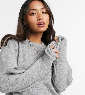 ASOS DESIGN Petite oversized jumper with crew neck in grey