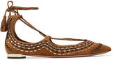 Aquazzura Christy Folk Embroidered Suede Point Toe Flats - Tan