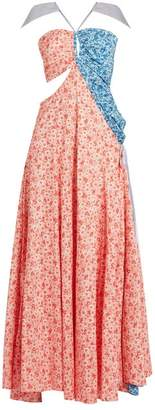 Rosie Assoulin Half And Half Floral Print Cotton Gown - Womens - Red Print