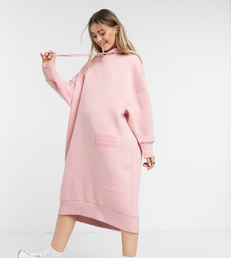 Collusion midi slouchy hoodie dress in pink