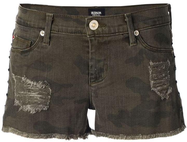Hudson camouflage denim shorts