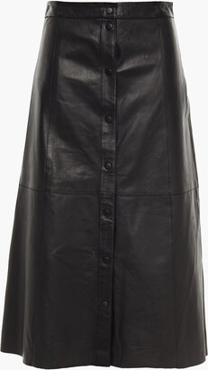 Muu Baa Muubaa Popper Textured-leather Midi Skirt