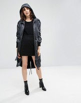 Asos Premium Parka in Satin Fabric