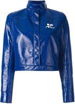 Courreges vinyl cropped jacket - women - Cotton/Polyurethane/Cupro - 42