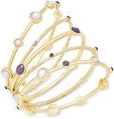 INC International Concepts 5-Pc. Gold-Tone Gray Crystal Imitation Pearl Bangle Bracelet Set, Only at Macy's