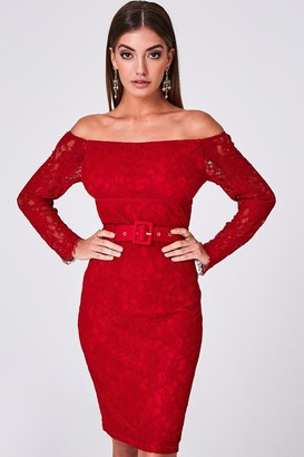 Paper Dolls Anise Ruby Lace Belted Bardot Bodycon Dress