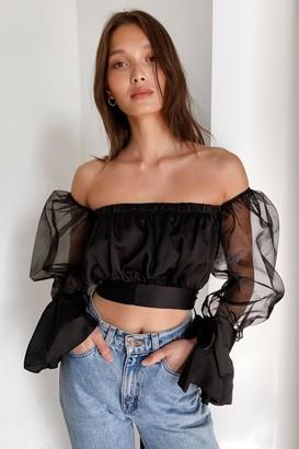 Nasty Gal Womens Sheer I Come Organza Off-the-Shoulder Blouse - Black - L