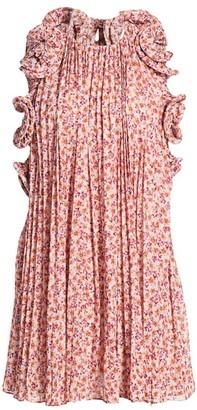 AMUR Mimi Halter Ruffle Pleated Mini Dress