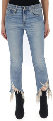 R 13 Frayed Flared Jeans