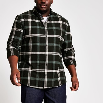 River Island Mens Big and Tall Black check regular fit shirt