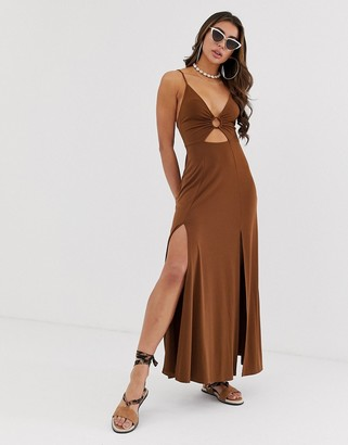 Asos Design DESIGN slinky maxi dress with cut out and ring detail-Brown