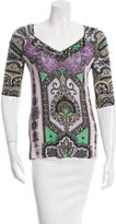 Etro Printed Gathered-Trimmed Top