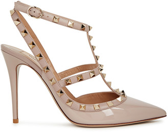 Valentino Garavani Rockstud 100 Blush Patent Leather Pumps