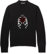 Dolce & Gabbana Embellished Embroidered Wool Sweater