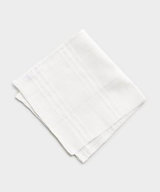 Mungai Mixed Linen Cotton Pocket Square in White