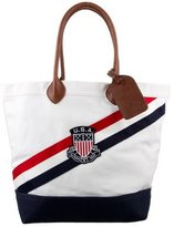 Polo Ralph Lauren Embroidered Leather-Trimmed Tote w/ Tags