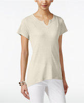 Style&Co. Style & Co. Petite High-Low Split-Neck T-Shirt, Only at Macy's