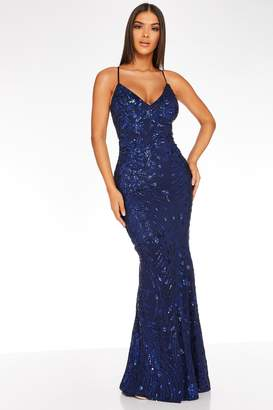 Quiz Navy Sequin Cross Back Fishtail Maxi Dress