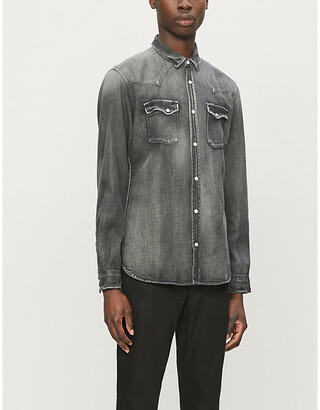 The Kooples Faded relaxed-fit stretch-denim shirt