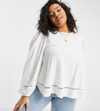 ASOS DESIGN Curve trapeze top with lace trim and long sleeve in white