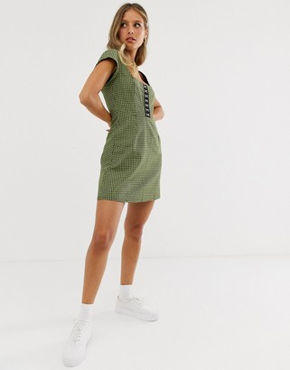 Capulet lera check mini dress-Green