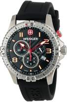 Wenger Men's 77055 Squadron Chrono Black Dial Rubber Strap Watch