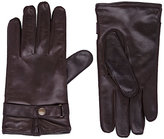 Barneys New York MEN'S SNAP-TAB LEATHER GLOVES-BROWN SIZE 9