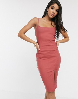 Vesper cami strap with cut out midi dress in vintage rose