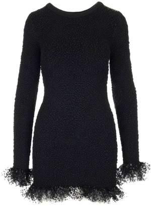 Saint Laurent Frill Polka Dot Tulle Trimmed Fitted Dress