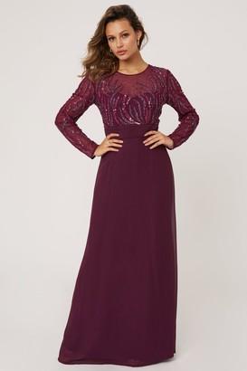 Little Mistress Georgie Plum Hand Embellished Maxi Dress