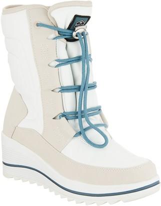 Khombu Waterproof Lace-Up Wedge Winter Boots - Whitecap