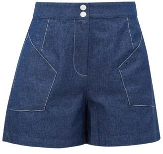 Marysia Swim Jitney High-rise Denim Shorts - Womens - Blue