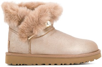 UGG faux fur flat ankle boots