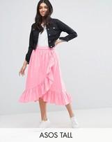 ASOS Tall ASOS TALL Wrap Midi Skirt in Cotton with Ruffle Hem