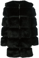 Givenchy round neck faux-fur coat