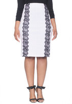ELOQUII Plus Size Gingham Lace Inset Pencil Skirt