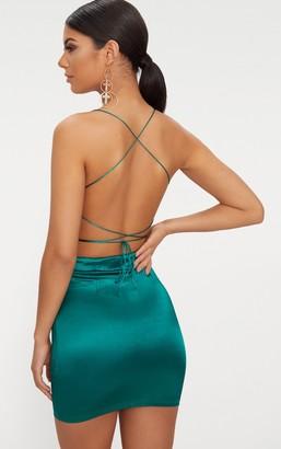 Pure Emerald Green High Neck Strappy Back Bodycon Dress