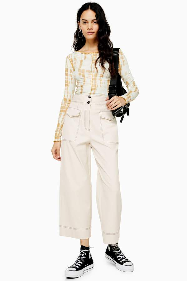 Topshop Twill Utility Crop Wide Leg Trousers