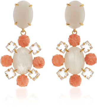 Bounkit Earring Set with Moonstone and Carved Bamboo Coral