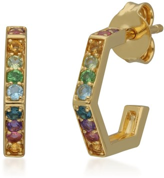 Gemondo Rainbow Gems Hex Hoops In Yellow Gold Plated Silver
