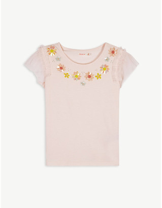 Billieblush Floral lace cotton-blend top 4-12 years