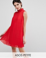 Asos Sleeveless High Neck Pleated Swing Dress