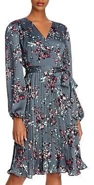 Adrianna Papell Crinkle Satin Pleated Dress