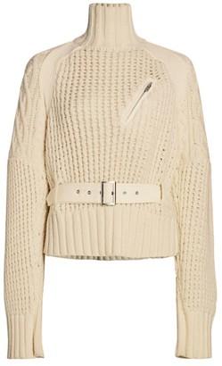Sacai Belted Combo Turtleneck Sweater