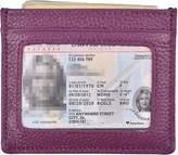 Woogwin Slim Credit Card Holder Wallet RFID Leather Card Case Sleeve ID Window (Purple)