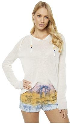 PJ Salvage Pigment Please Palm Sweatshirt (Ivory) Women's Clothing